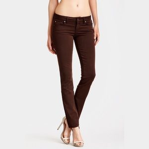 Anthro Level 99 Lily Skinny Straight Brown Jeans